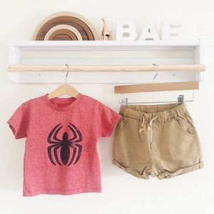 Zara Matching Sets - 12-18M Spiderman Shirt and Khaki Shorts